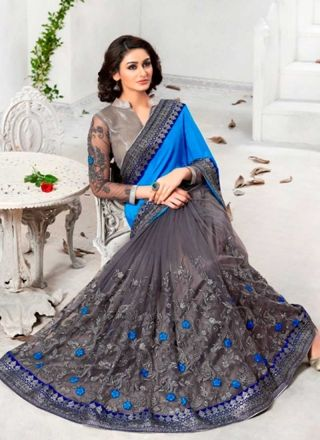 Amazing Grey And Blue Embroidery Work Half N Half Saree