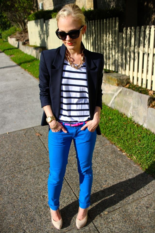 Blazer and stripe shirt with bold, cobalt jeans and a fun pink belt! Love this look