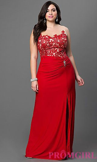 Plus Floor Length Prom Dress with Lace and Sheer Bodice at PromGirl.com