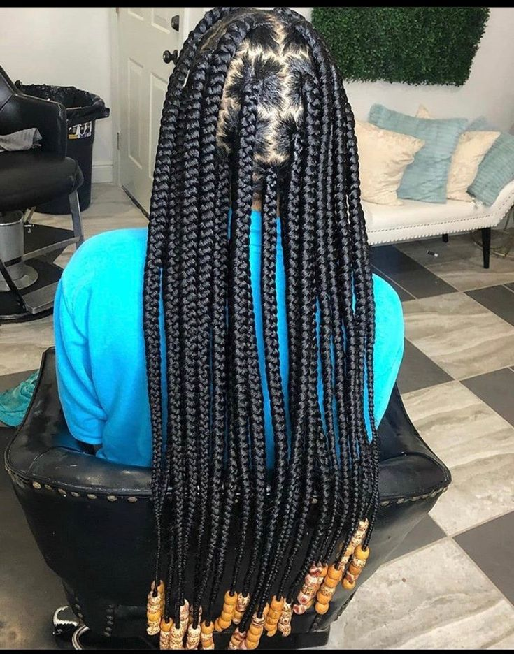 Zig Zag Parts Large Box Braids W Beads In 2020 With