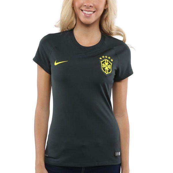 Nike Brazil Women's Third World Soccer Stadium Jersey - Forest Green/Maize - $44.99