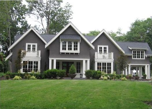 home exteriors - Pratt and Lambert - Wendigo - House exterior white trim gray siding Found on Colour Me Happy blog. Love this color.