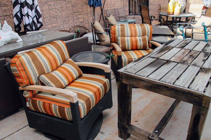 Orange patio furniture found at Avery Lane Fine Consignment in Scottsdale Ar