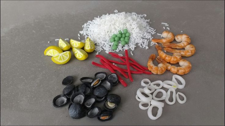 Ingredientes paella en fondant