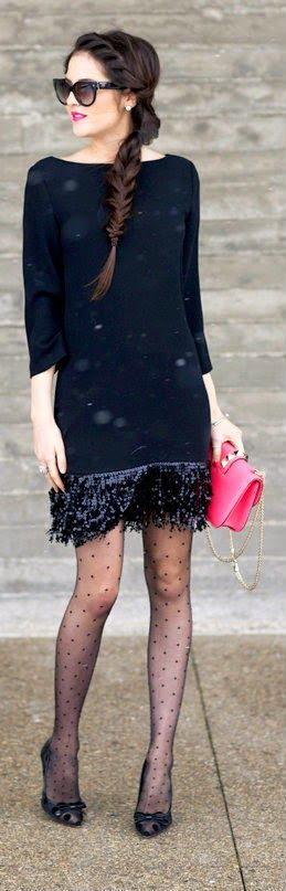 Black Sequin Fringe Mini Dress with Lisa Pumps and Pink Clutch by Pink Peonies