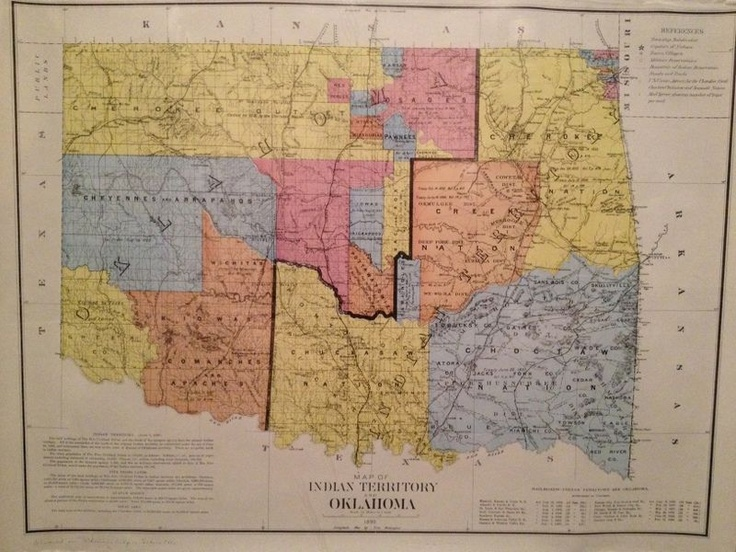 1890 Poster Map of Indian Territory and Oklahoma Railroads Tribes Etc eBay