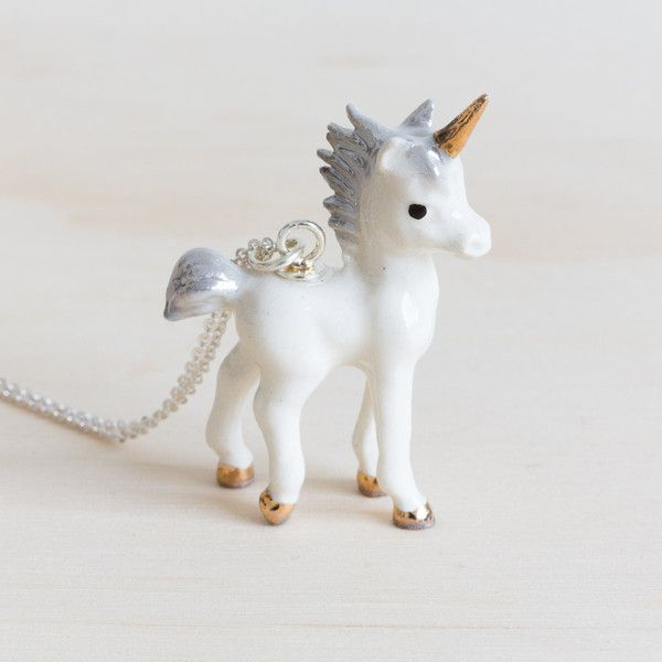 Meow Girl Unicorn Necklace - gold