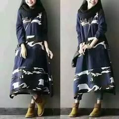 Women cotton loose fitting print long sleeve dress - one size / blue