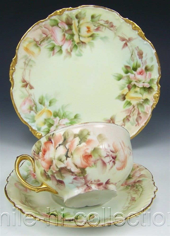 LOVELY LIMOGES HAND PAINTED ROSES CUP SAUCER DESSERT PLATE SET SIGNED E. THOMAS
