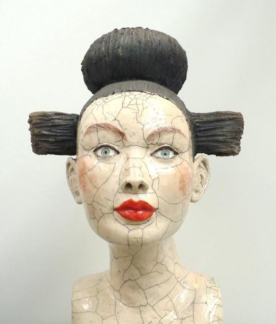 'Buste' by French ceramic sculptor Mélanie Bourget. Raku. via Artodyssey