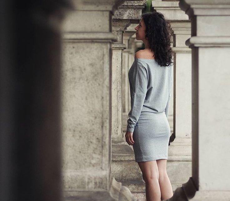 Batwing jumper #dress 👗 #heathergrey #batwingjumper #womandress #madebyme…
