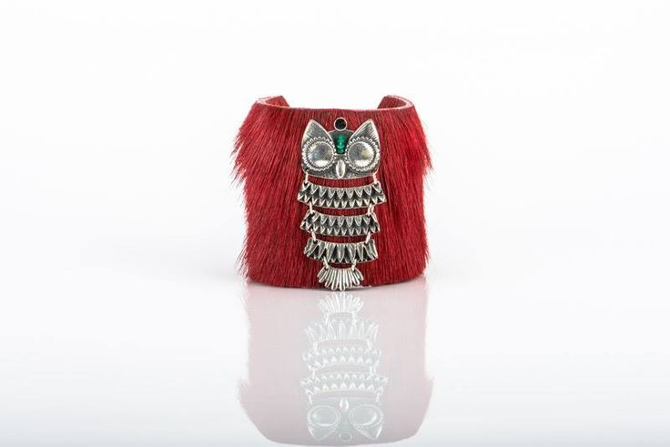 LEATHER CUFF WITH SILVER OWL AND GEM STONE