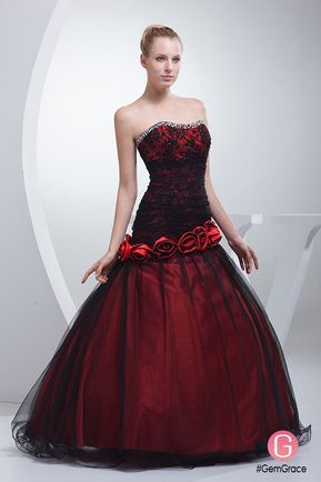 4370f9fe62 Gothic Black and Red Floral Ballgown Tulle Color Wedding Dress ...