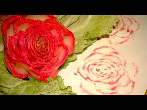 How to Draw a Rose - Easy Way to Draw a Rose with a Stencil made from Chinese Cabbage - http://coloredtips.com/diy/how-to-draw-a-rose-easy-way-to-draw-a-rose-with-a-stencil-made-from-chinese-cabbage/