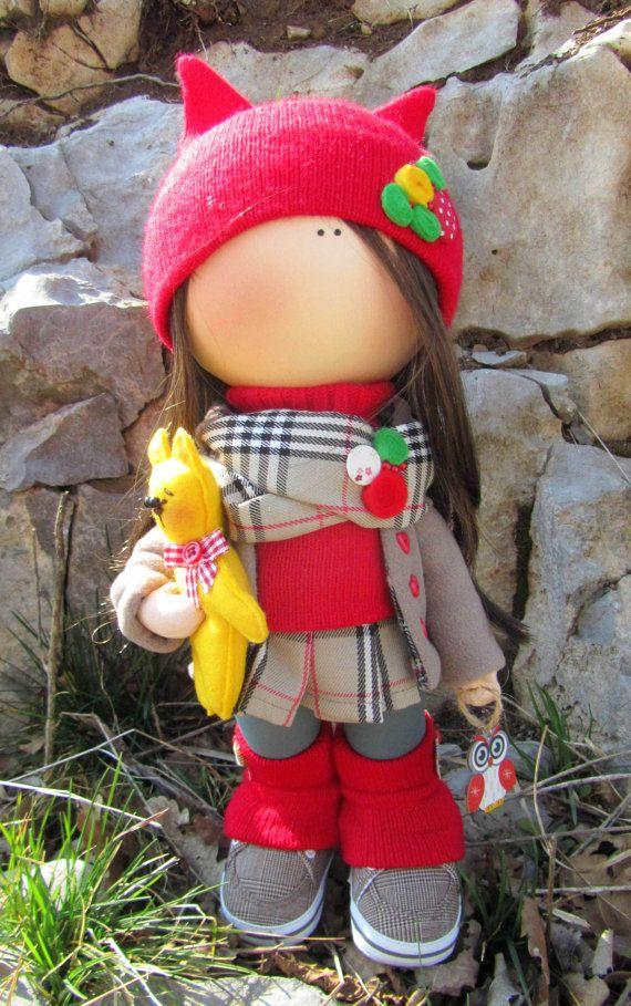 CLOTH DOLL handmade doll fabric doll art by NICEDOLLSANDRABBITS ♡