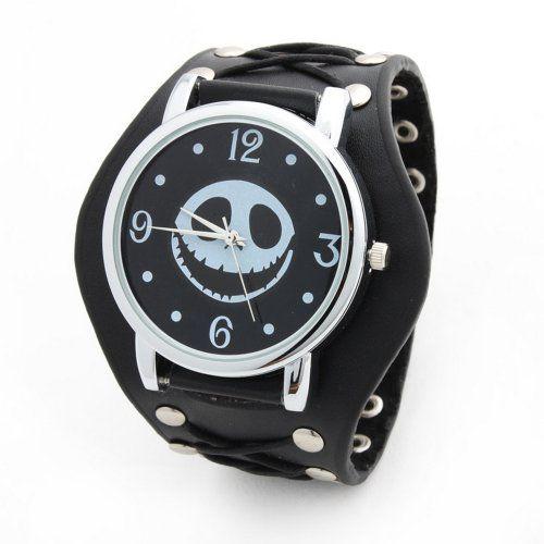 YESURPRISE Rock skull Punk Still Leder Quarz Uhr Herrenuhr Armbanduhr + Kette Damen Unisex Geschenk Xmas Gift watch - http://autowerkzeugekaufen.de/yesurprise/yesurprise-rock-skull-punk-still-leder-quarz-uhr