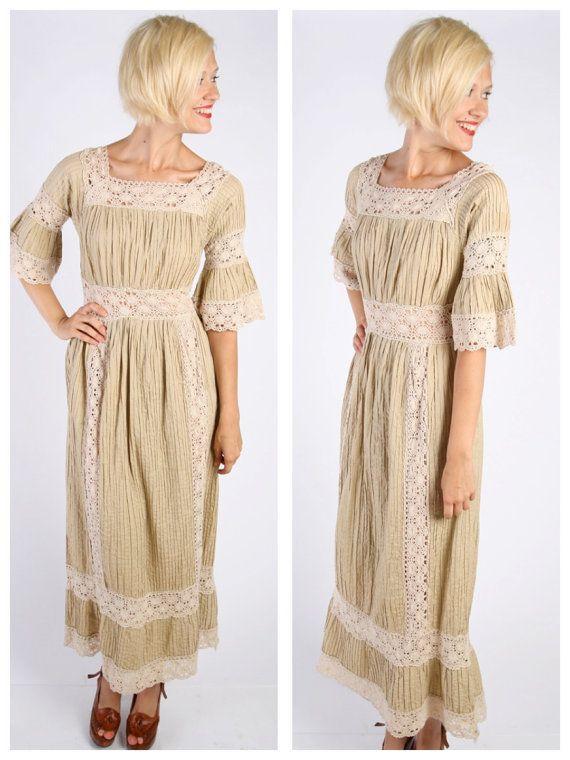 1960s Dress // vintage 60s BOHO Maxi // Wedding in Mexico Dress