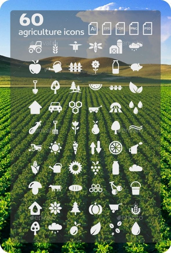 60 Agriculture Icons — Photoshop PSD #milk #flowers • Available here → https://graphicriver.net/item/60-agriculture-icons/9381862?ref=pxcr