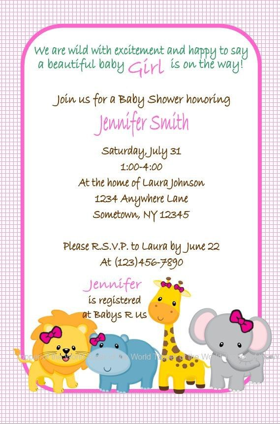 Safari Jungle Animal Baby Shower Invitations for Baby girl with lion, hippo, giraffe and elephant, Set of 10 Invitations and envelopes