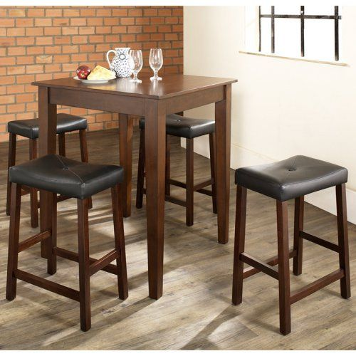 Crosley 5-Piece Pub Dining Set with Tapered Leg and Upholstered Saddle Stools - Indoor Bistro Sets at Hayneedle