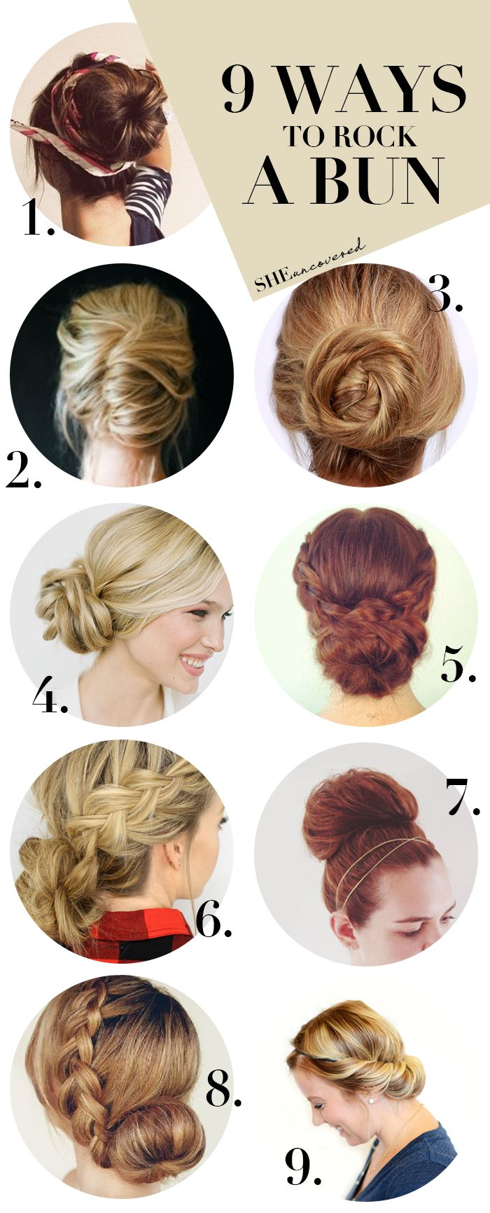 From the yoga studio to everyday life, the bun is the easiest hairstyle to take you through your day! Check out our round-up of 9 ways to rock a bun!