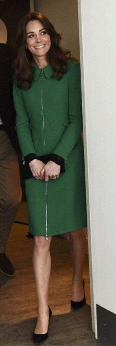 Who made  Kate Middleton's green coat and black bird print dress?