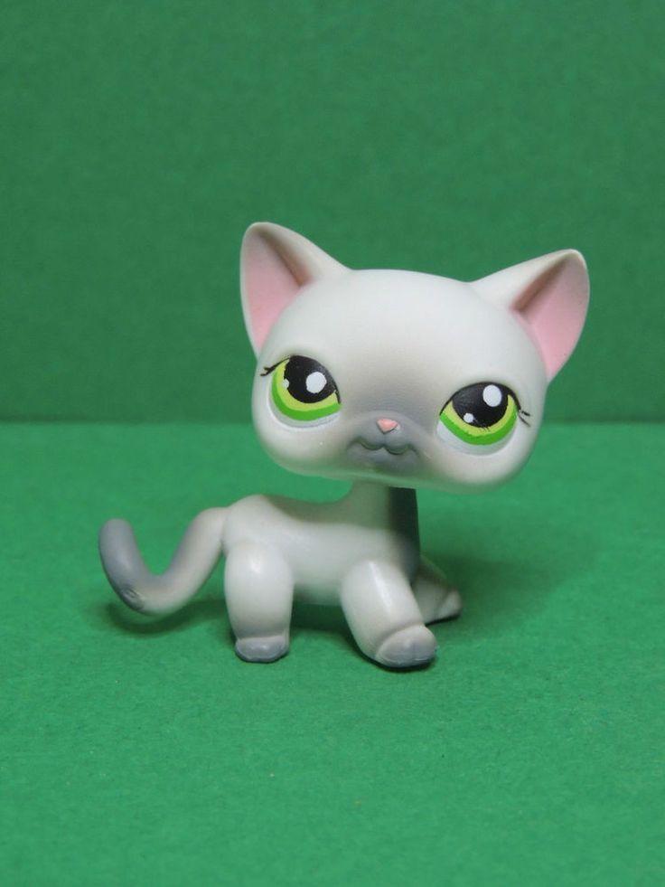 #125 chat short hair european grey & white cat LPS Littlest Pet Shop Figure
