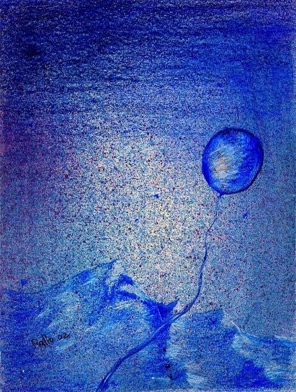 paesaggio in blu con palloncino - daniele rallo - mista - 50 €