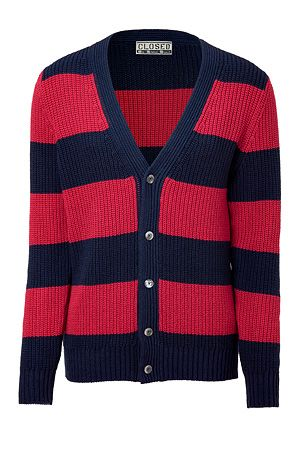 Fancy - STYLEBOP.com | NavyandRedStripedV-neckCardiganbyCLOSED | the latest trends from the capitals of the worldStripes Cardigans, Amazing Stuff, Discover Amazing, Men Fashion, Latest Trends