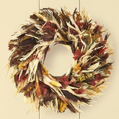 Indian Corn Wreath Paired With A Few Small Pumpkins And Gourds On A