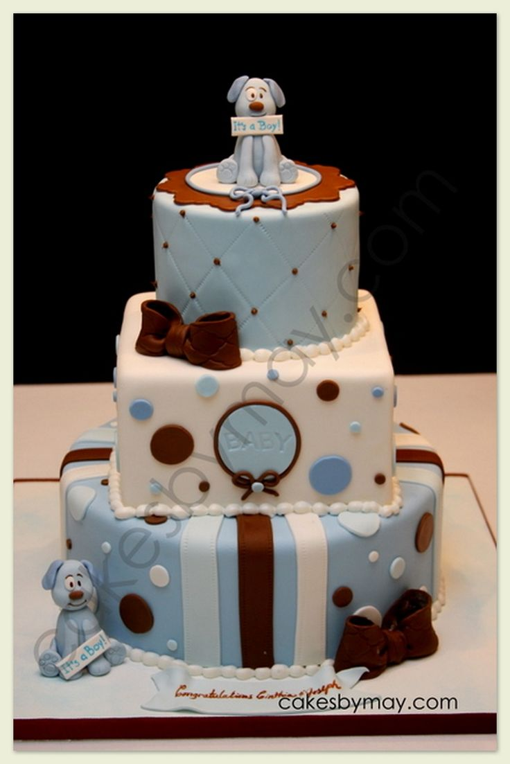 One of the few round/square/round stacked cakes I've seen that actually looks nice. It's a Boy Baby Shower Cake