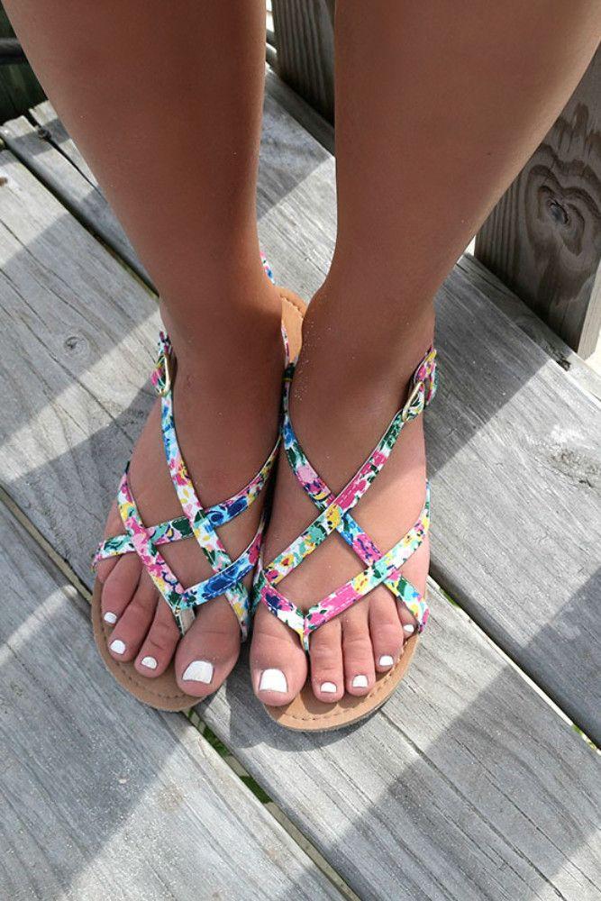 Monterey Bay Floral Print Flat Strappy Sandals