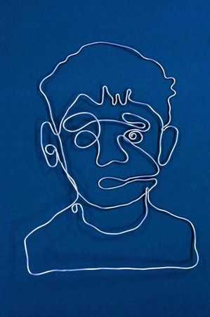 Wire sculpture self-portrait.  Would like to try with 7th or 8th gr