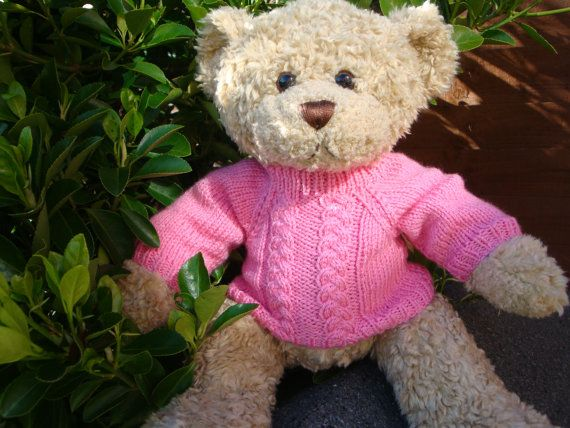 Knitting Pattern - Teddy Bear Sweater for Build a Bear - Aran/Cable design