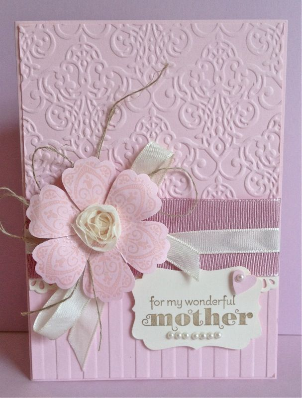 handmade Mother's Day card ... monochromatic pink ...stamped  flower from Mixed Bunch die cut with the Blossom Punch ... vanilla scented embossing powder for the flower ... luv the two embossing folder textures ... sweet and feminine card ... Stampin' Up!
