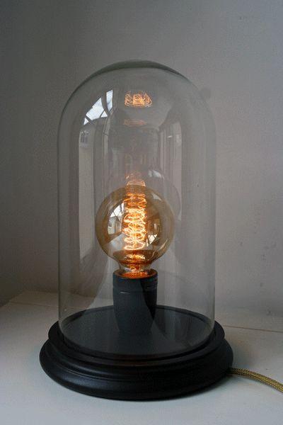Glass Display Dome Table Lamp Black Rockett St George