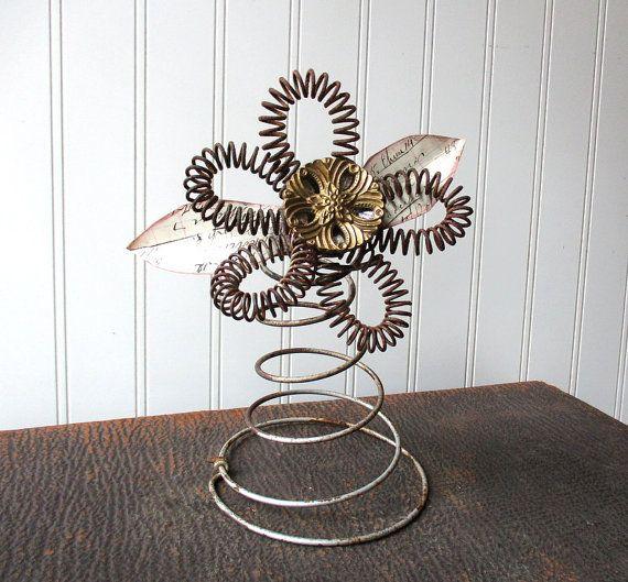 Upcycled bed spring flower metal wire bedspring vintage hardware elements mixed media folk art N1