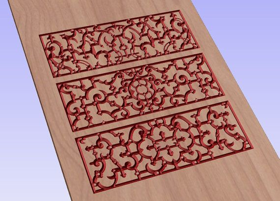 Elizabethan ornamental pattern vector file for cnc V-bit carving (digital file).  This file can be applied to any program CNC like Artcam... #digital2cre8 #vcarve #cncrouter #cncfile #epsfile #vectorimage #woodcarving #digitalsupplies #homedecor #elizabethan