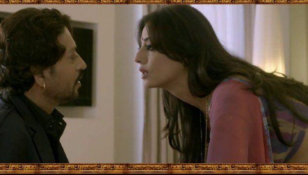 Mahie Gill as Madhavi Devi and Irrfan Khan as Indrajeet Pratap Singh aka Raja Bhaiyya.