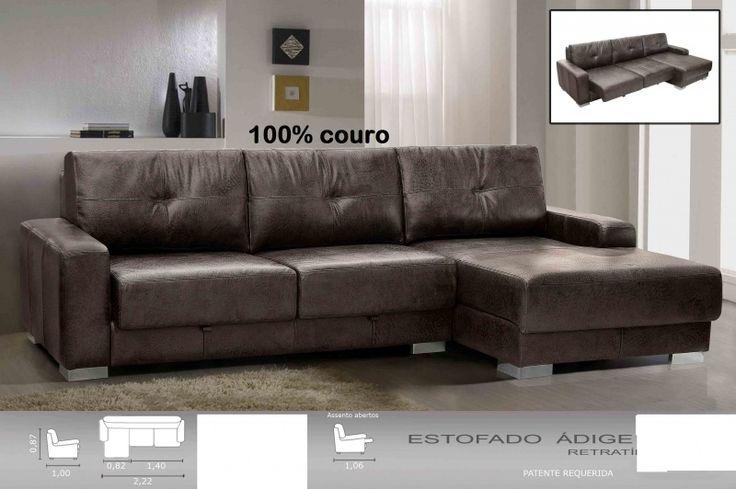 sofa de couro preto retratil 5