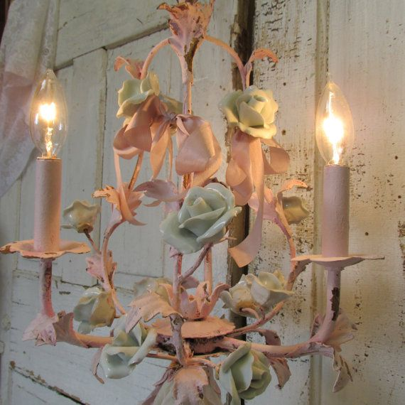Pink chandelier with porcelain roses shabby cottage chic distressed lighting swag adorned silk lace ribbon home decor anita spero & 291 best Home decor that can help finish a space images on ... azcodes.com