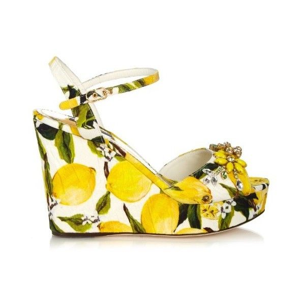 Dolce & Gabbana Lemon-print embellished wedge sandals ($982) ❤ liked on Polyvore featuring shoes, sandals, yellow multi, flower print shoes, wedge sandals, floral print shoes, beaded sandals and open toe wedge sandals