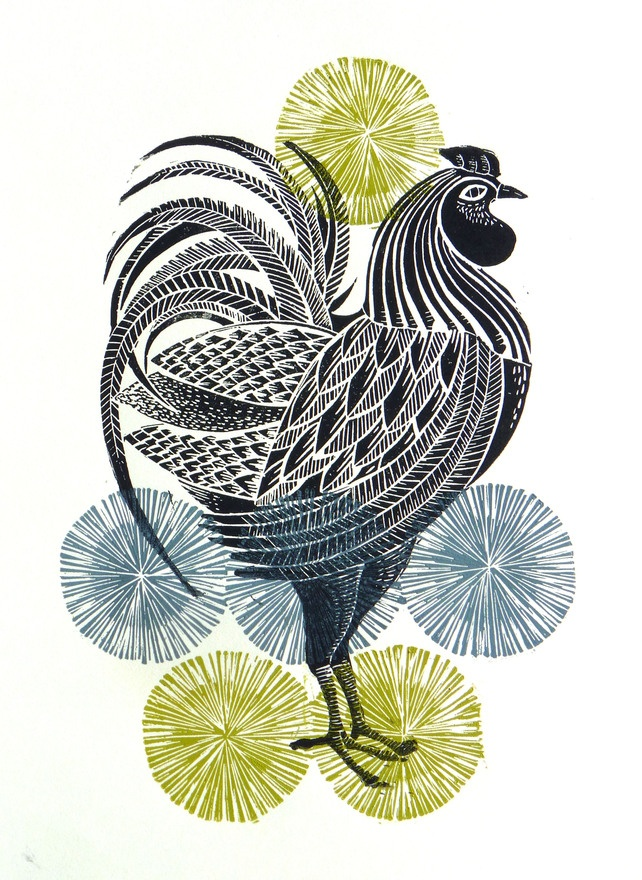 Cockerel, Multicoloured original linocut print, by Amanda Colville of Mangle Prints, Rooster