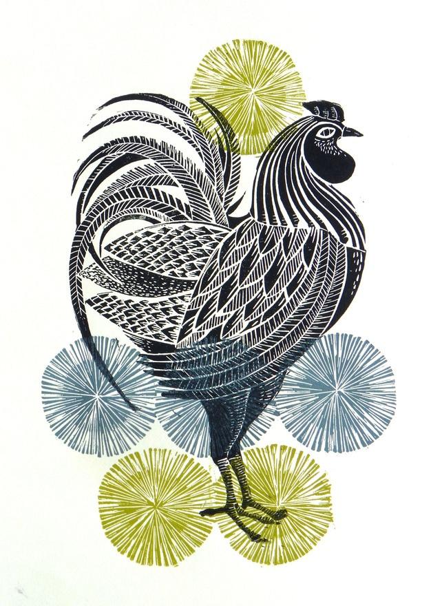 Cockerel, Multicoloured original linocut print, by Amanda Colville of Mangle Prints