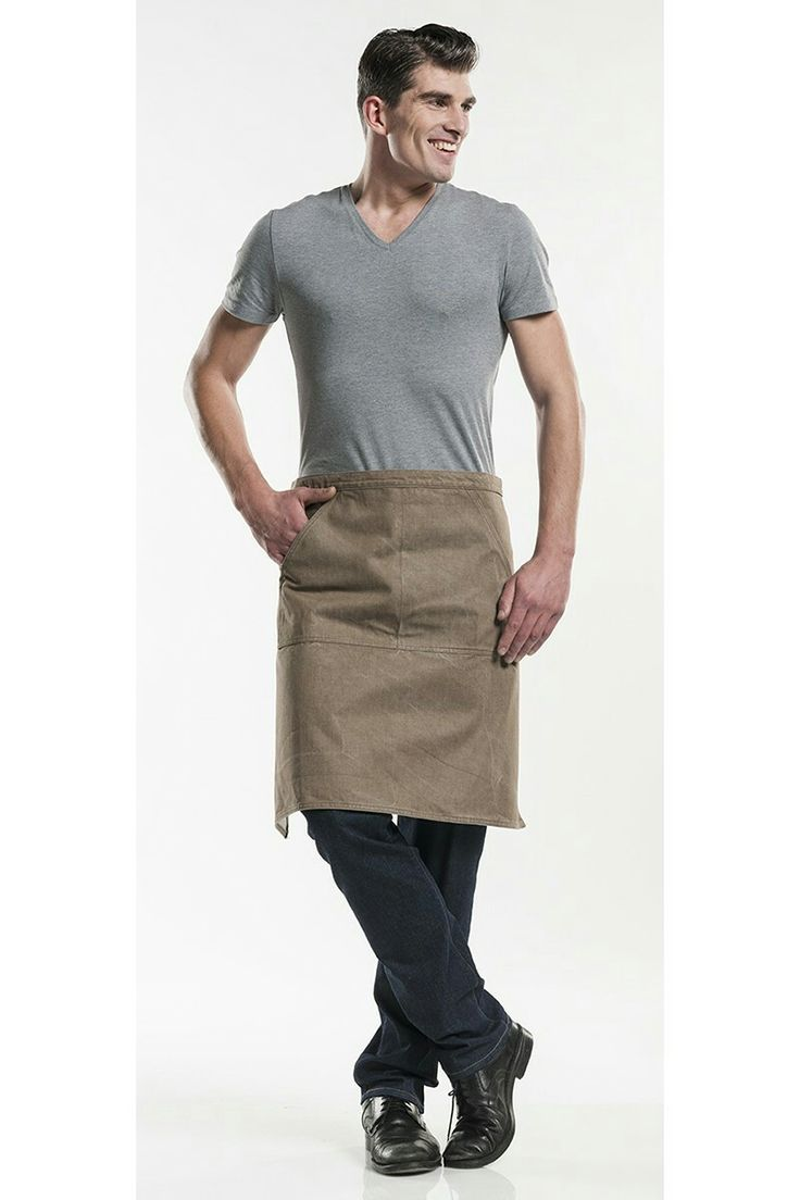 Apron long, mud color, denim style. Price € 29,95