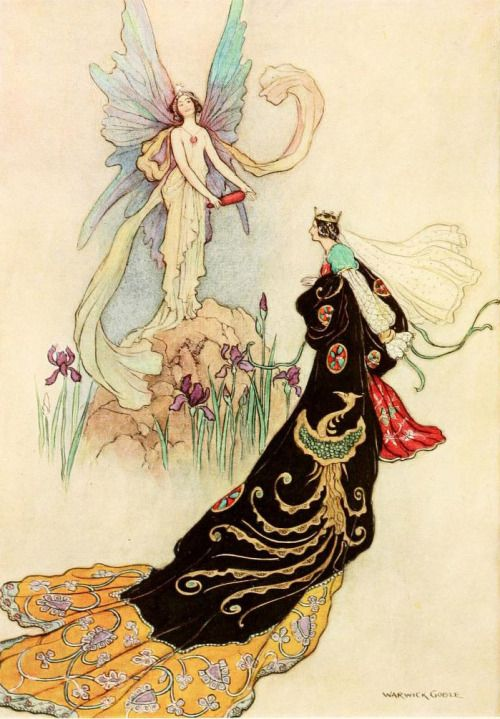 'The fairy there welcomed her majesty' (The Butterfly). Illustration by Warwick Goble from 'The Fairy Book' published 1913 by Macmillan & Co.archive.org