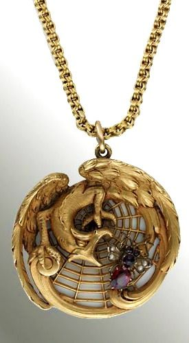 Late Victorian or Early Art Nouveau Griffin and Winged Bug Pendant.