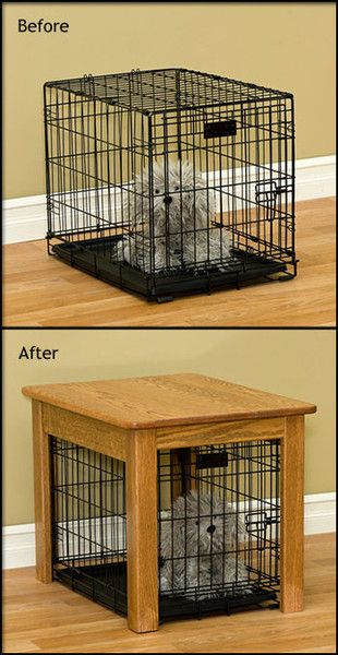 Hand built and finished dog crate table cover. Custom Wood Dog Crate Cover End Table is lovingly handcrafted to cover your wire dog crate. Disguise a wire dog crate with a Custom Wood Dog Crate End Table stylish enough for any room in the home.  ~~> Inspiration, DIY project doable ... build or possibly repurpose table