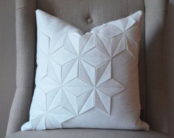 Etsy find - geometric winter white cushion