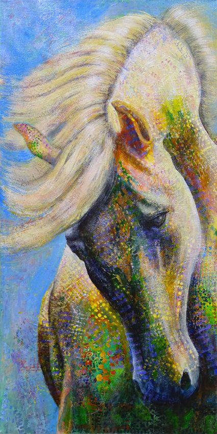 Wild by Shirley Dougan Acrylic on canvas 40cm x 80cm.